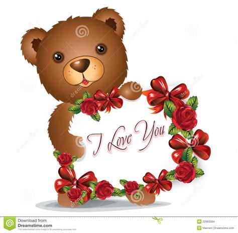 printable birthday cards teddy bear brown teddy bear with greeting card stock illustration