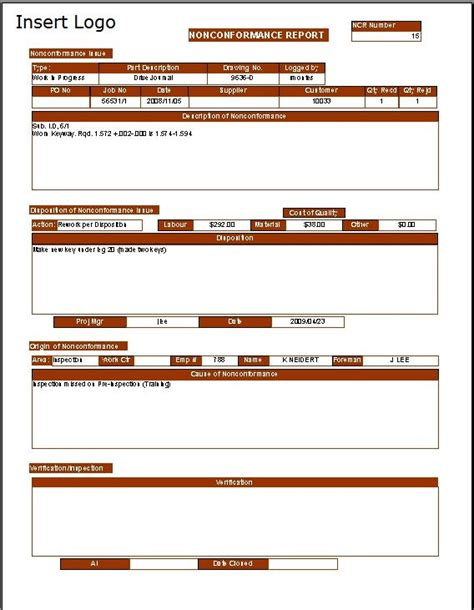Non Conformance Report Template For Manufacturing