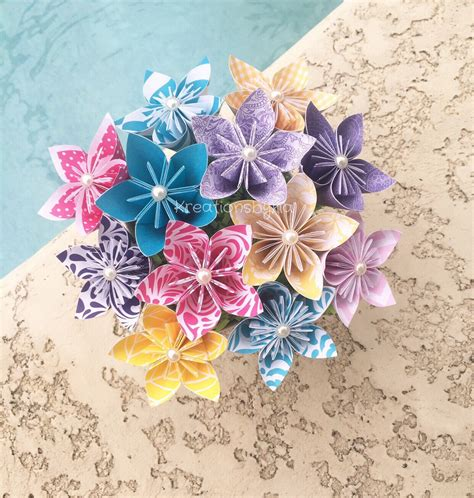 Origami Flower Bouquet Easy - origami paper flower bouquet wedding decorations kusudama