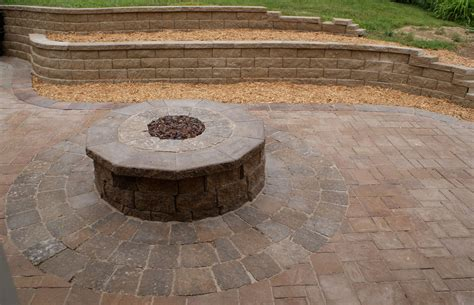 backyard with fire pit fire pit and outdoor fire place omaha landscape design