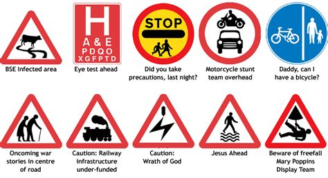 printable road code test funny road sign meanings funny pranks