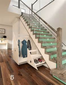 glass staircase with wood newel posts and stairs