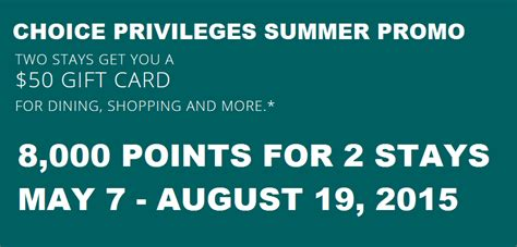 Choice Hotels Gift Card Promo - choice privileges summer 2015 promotion earn 8 000 points for 2 stays may 7