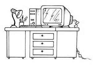 kleurplaat bureau met computer afb 8190