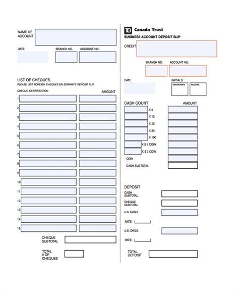 9 Deposit Slip Templates Sle Templates Bank Deposit Slip Template Word
