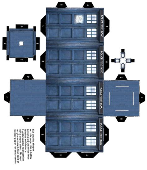 Tardis Papercraft - diy paper or card 3d tardis printable lizquilty