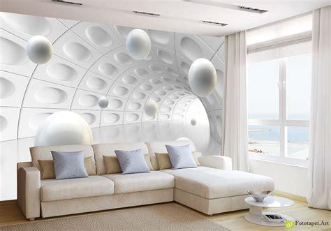wallpaper design types foto tapet cu efect 3d tunel și 3d bile fototapet art