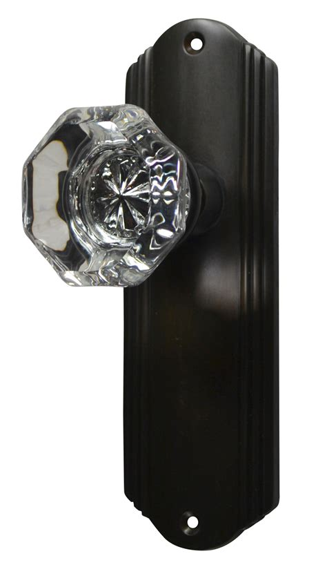 providence door knob set with deco back plate