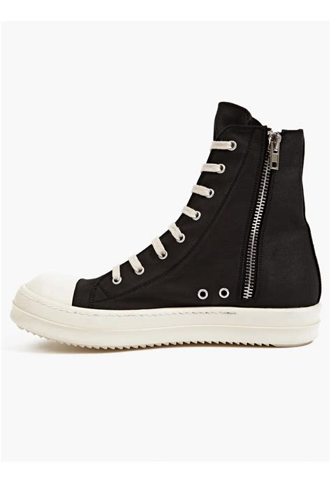 canvas sneakers mens drkshdw by rick owens mens black canvas rms sneakers in