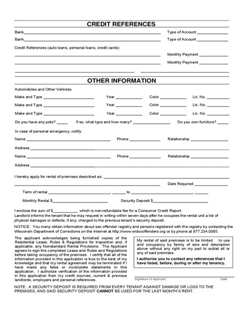 Rent Credit Form Wisconsin Wisconsin Rental Application Form Free