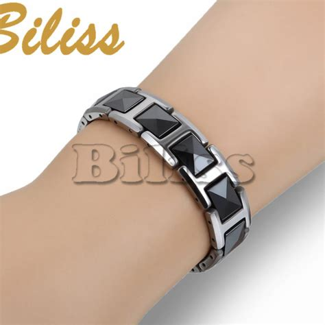 Bracelet Magnetic Tungsten Cramic Kesehatan Black Silver 1 fashion cool black ceramic bracelet health energy with magnetic tungsten chain bracelets