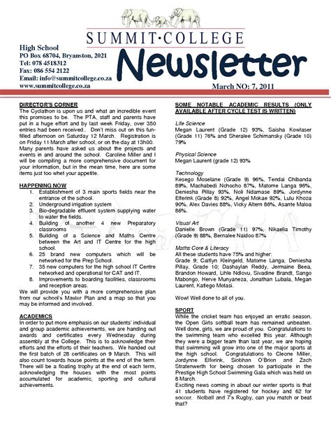 College Newsletter Pin School Newsletter Exles On