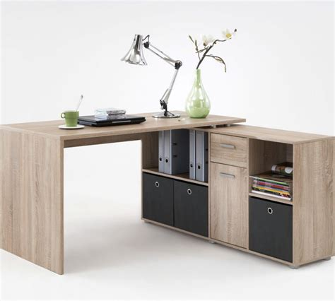 Luna L Shaped Corner Computer Desk Oak By Furniturefactor L Shaped Computer Desk With Storage