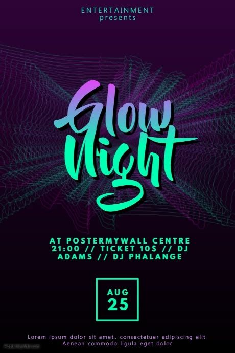 Glow Disco Party Flyer Template Postermywall Flyer Celebration Template