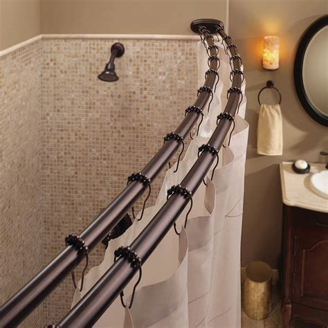 how to make a curved shower curtain rod bennington adjustable double curved shower curtain rod oil rubbed bronze greydock com