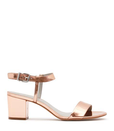 gold block heel sandals vivi gold block mid heel sandals reiss