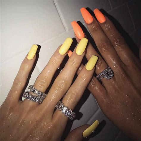 kim kardashian coffin nails kylie jenner neon yellow nails love or loathe her latest