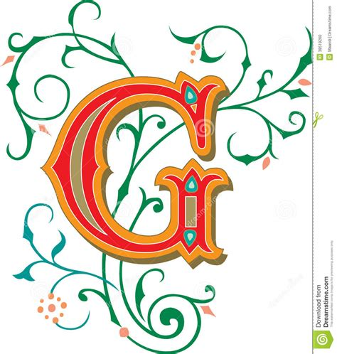 arts and letters beautiful ornament letter g stock vector illustration 1082