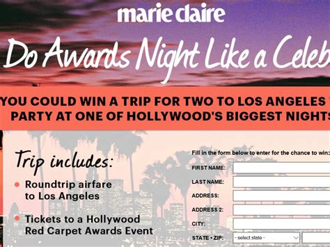 Marie Claire Sweepstakes - marie claire hollywood red carpet party sweepstakes sweepstakes fanatics