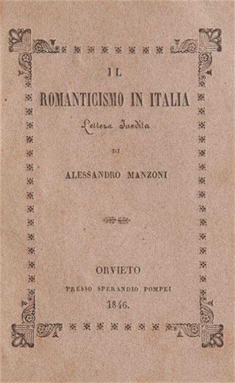 lettere di manzoni manzoni il romanticismo in italia lettera inedita libri
