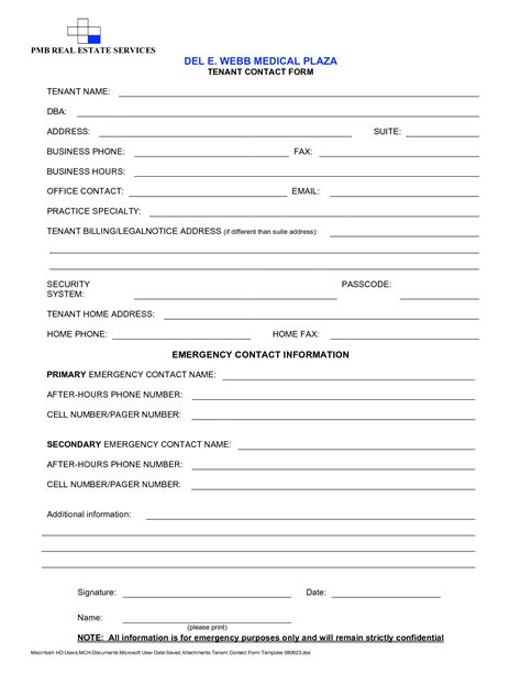 emergency information form template best photos of contact form template contact information