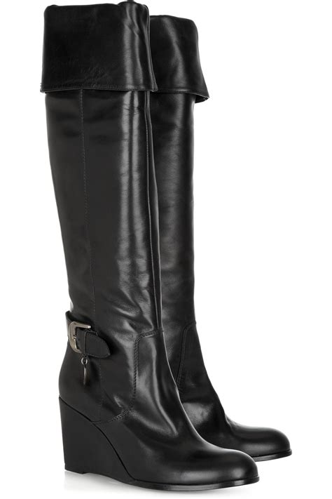 rykiel the knee leather wedge boots in black lyst
