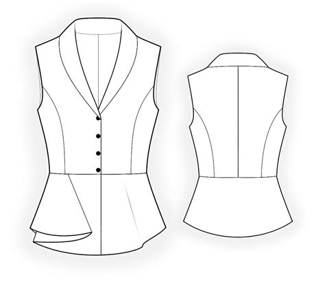 drawing blouse pattern blouse with peplum sewing pattern 4369 made to measure