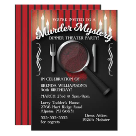 template murder mystery card murder mystery invitations announcements zazzle