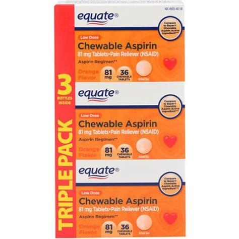 Equate Chewable Low Dose Aspirin equate low dose aspirin orange chewable 3x36 count walmart