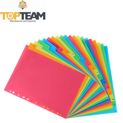 High Quality 20 Sheets Pp Index Divider A4 Size,Custom