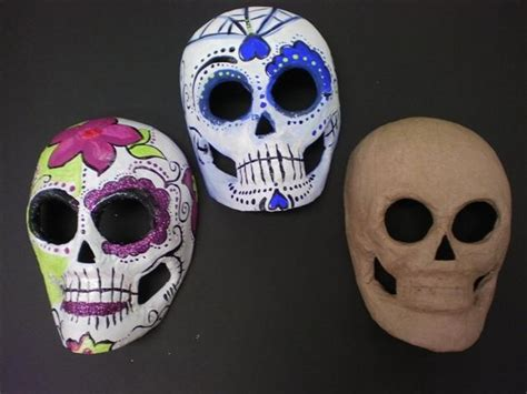 How To Make A Paper Mache Skull Mask - paper mache mask painted like sugar skulls