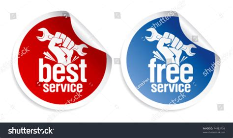 free service best free service guarantee stickers stock vector 74983738