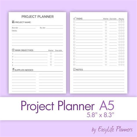 Project Planners by Project Planner A5 5 83 Quot X From Easylifeplanners On Etsy