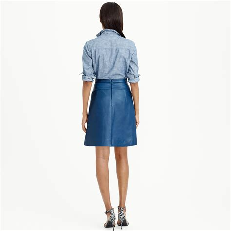 j crew collection box pleat leather skirt in blue lyst