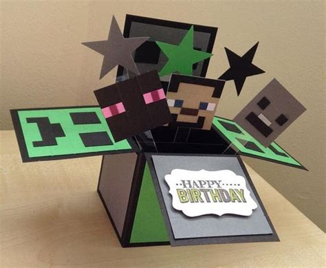 Minecraft Handmade - handmade card in a box minecraft theme by