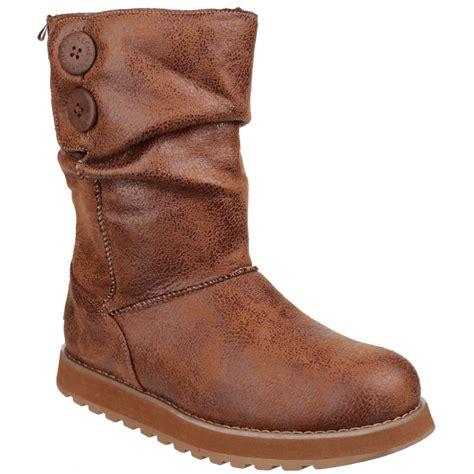 skecher boots for skecher womens chestnut keepsakes esque button collar calf