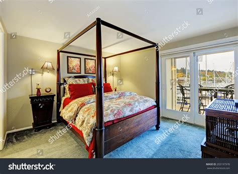 bedroom pole bedroom interior high pole bed walkout stock photo