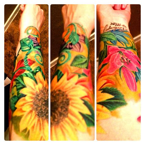 colored flower tattoos floral flower sleeve bright colors tattoos