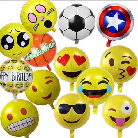 Balon Foil Emoji Birthday 5 pcs set emoji balloon 18 inch foil balloon