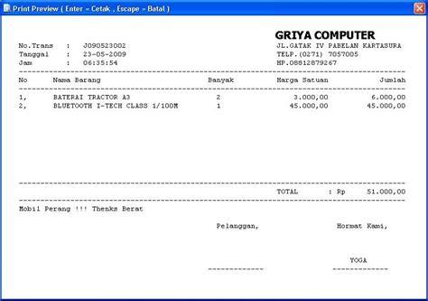 Bukti Transaksi Shifa Collection Dan Offline software nota penjualan ayam