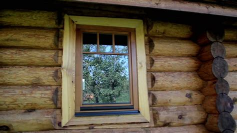 Log Cabin Windows by Glass Window Reflection On The Cabin Log House Looks