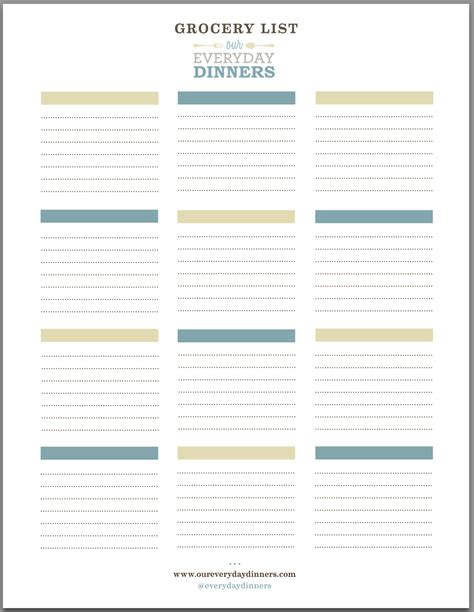 Kitchen Design Checklist by Easy Grocery List Printable