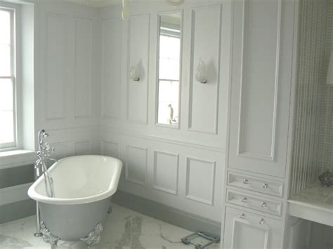 bathrooms with panelled walls love the recessed cupboards hidden storage is the best