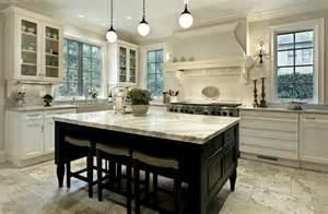 large white kitchen with dark wood island traditional rustic cabinets