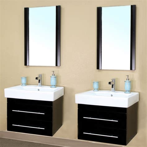 48 Inch Double Sink Wall Mount Bathroom Vanity In Black Sink Bathroom Vanity