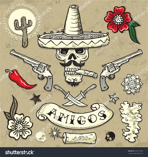 traditional mexican tattoo designs set vector elements mexican theme tattooart stock vector