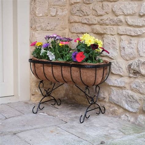 Black Metal Planters Black Metal Saxon Patio Planter By Garden Selections