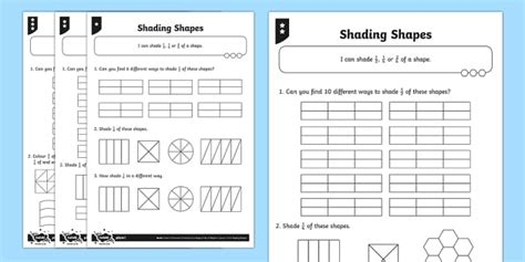shape pattern twinkl shade 1 2 1 4 or 2 4 of a shape differentiated worksheet