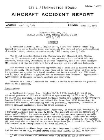 illinois department of transportation crash records section file cab aircraft accident report northwest flight 293