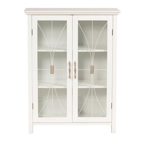 white bathroom floor storage cabinet with tempered glass